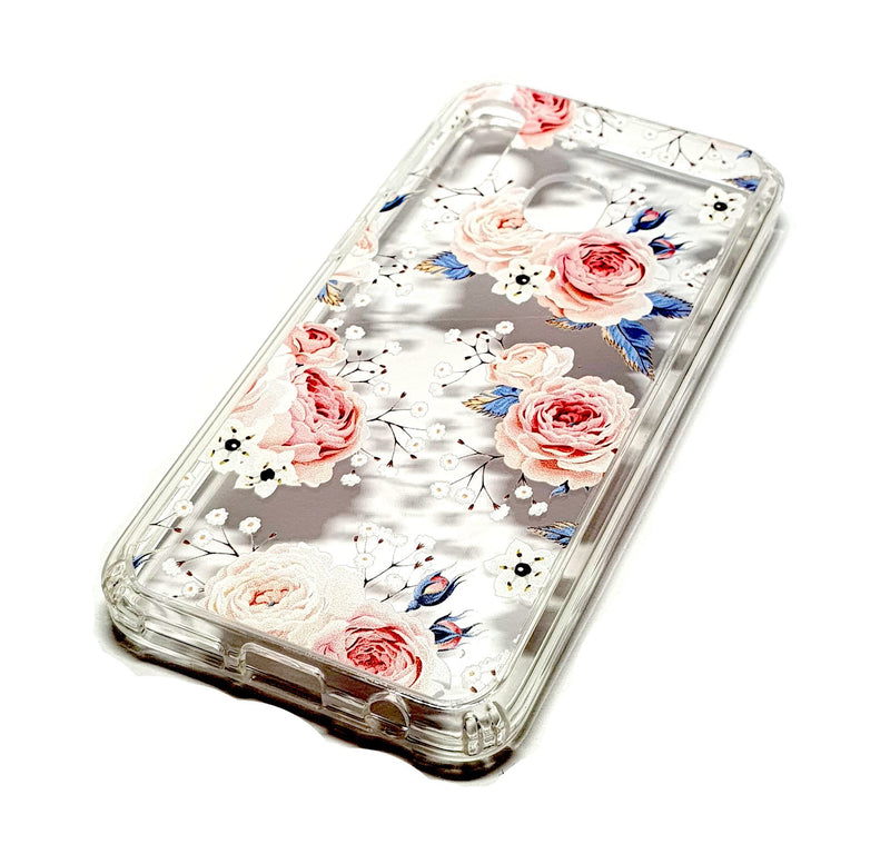 Samsung A40 decorative clear transparent phone case roses