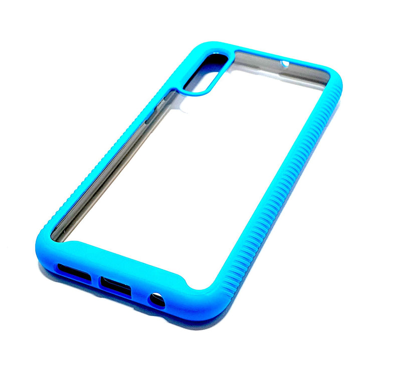 Samsung A50 Shockproof blue clear transparent phone case