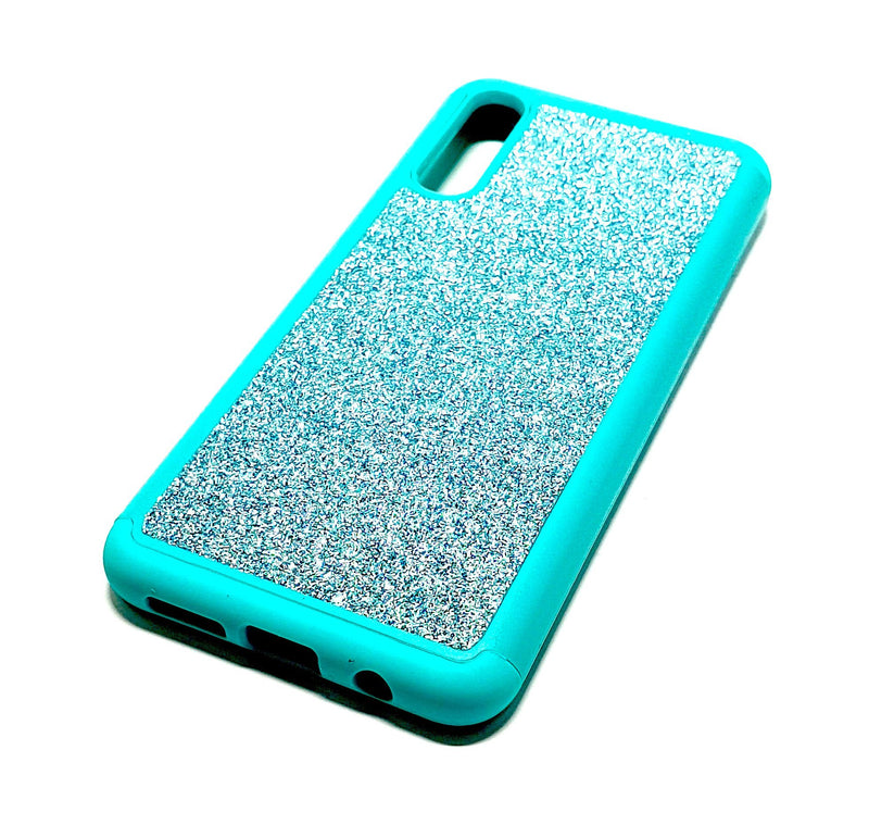 Samsung A50 Shockproof light blue glitter phone case