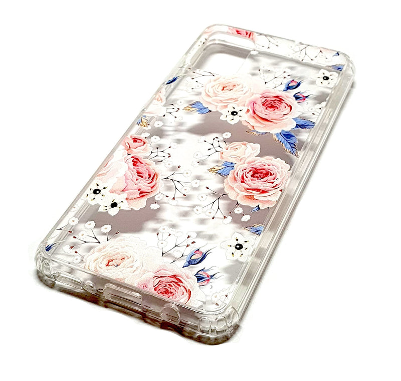 Samsung A51 decorative clear transparent phone case roses