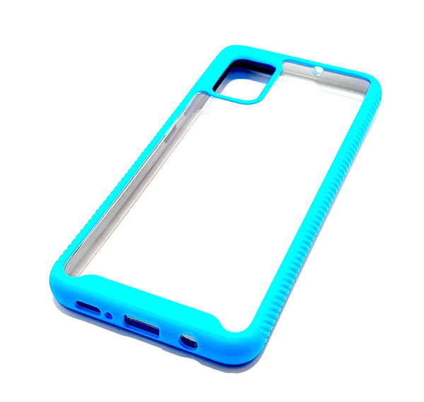 Samsung A51 Shockproof blue clear transparent phone case