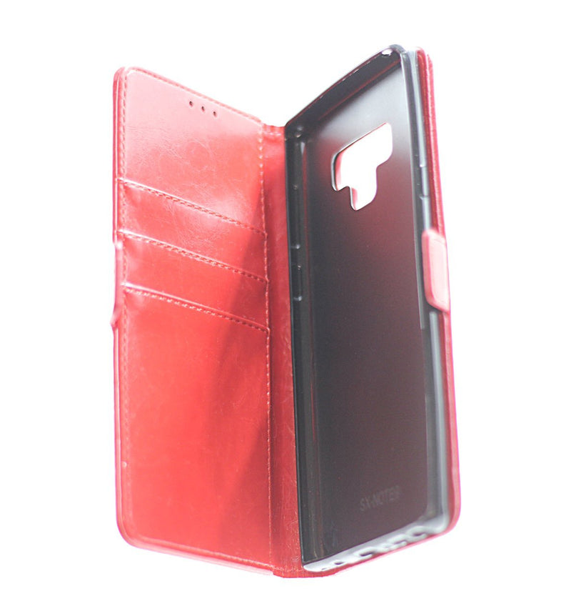 Samsung Note 9 Leather Wallet Case Red