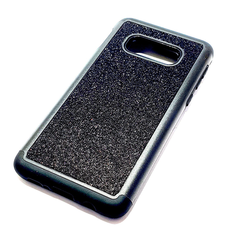 Samsung S10e Shockproof black glitter phone case