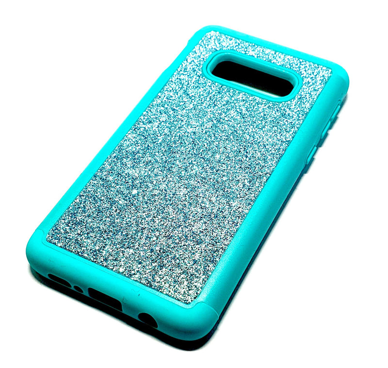Samsung S10e Shockproof light blue glitter phone case