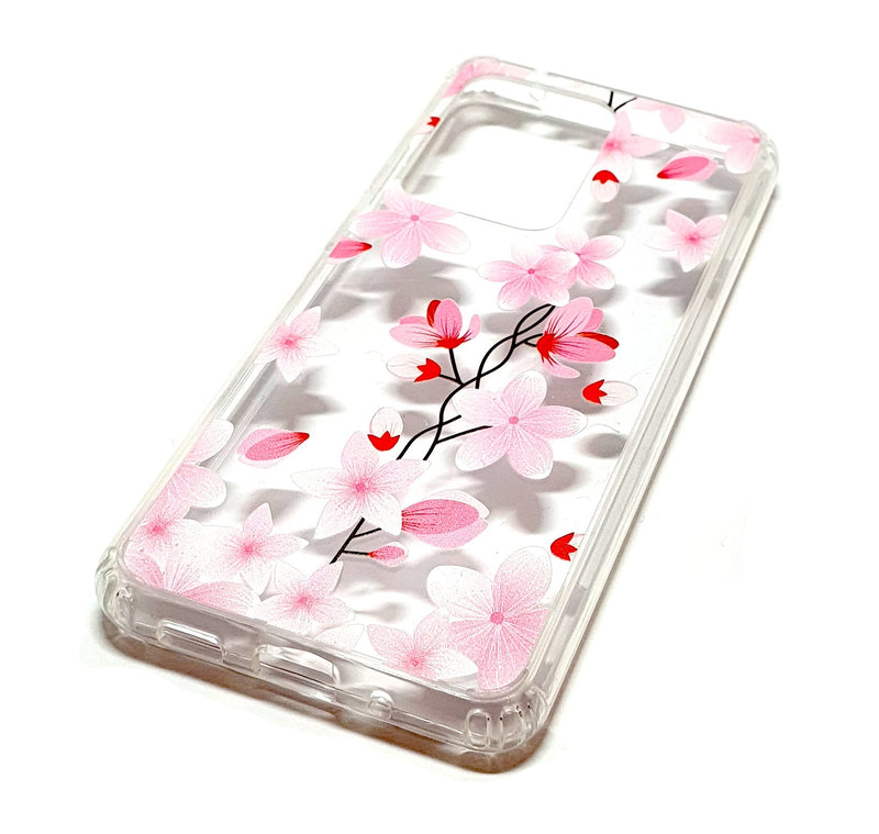 Samsung S20 Ultra decorative clear transparent phone case flowers