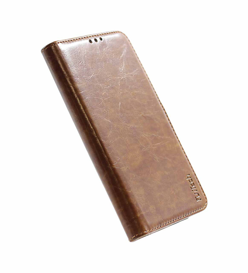 Samsung S9 Plus Leather Wallet Case Brown