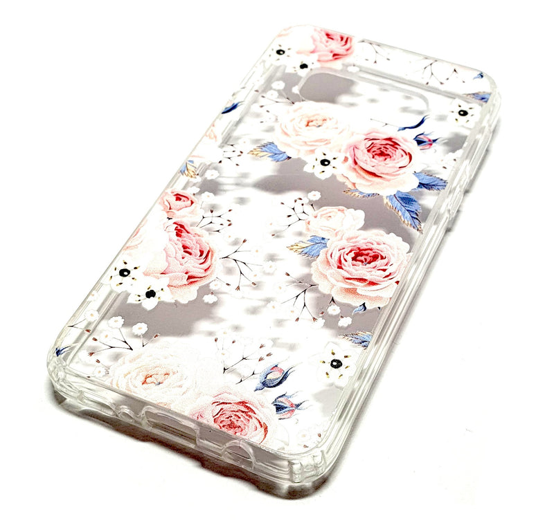Samung S20 plus decorative clear transparent phone case roses