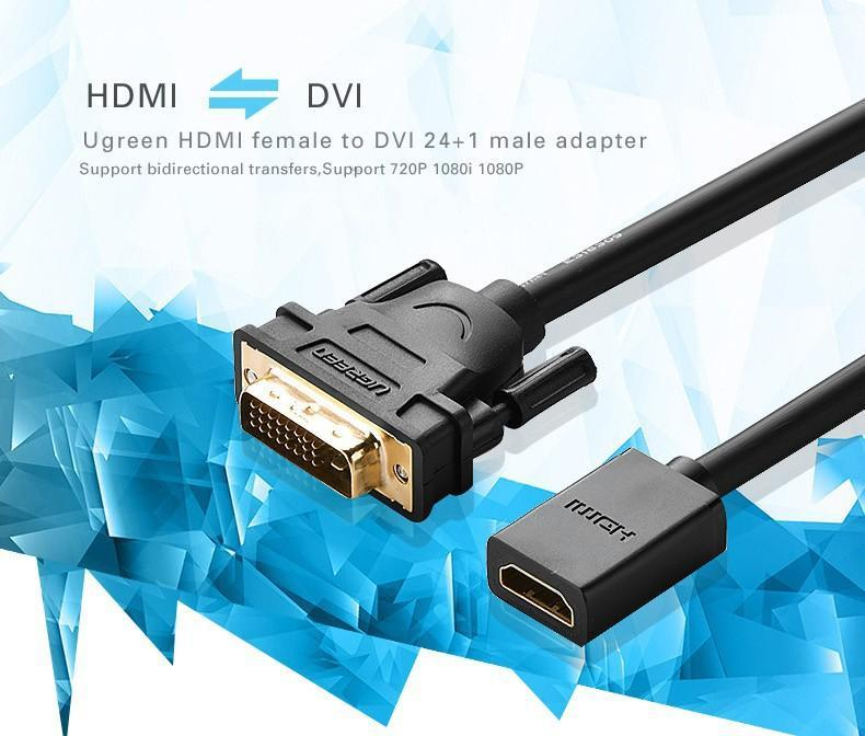 UGREEN DVI Male to HDMI Female Adapter Cable 22cm (Black)