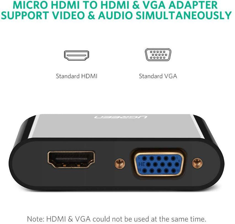 Ugreen micro HDMI to HDMI+VGA Adapter black ABS