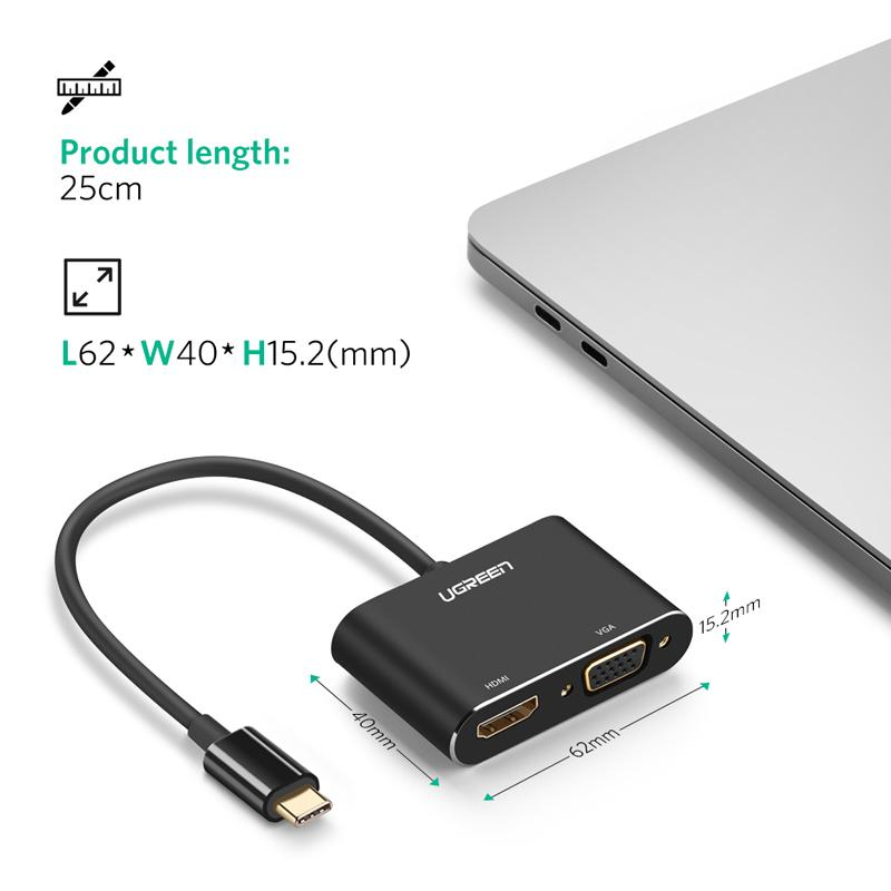 UGREEN USB-C to HDMI + VGA Adapter with PD (Silver)