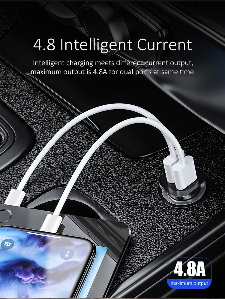 Dual USB fast Car Charger metal
