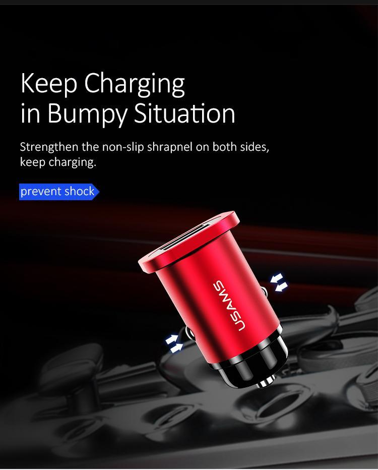 Dual USB fast Car Charger Black metal