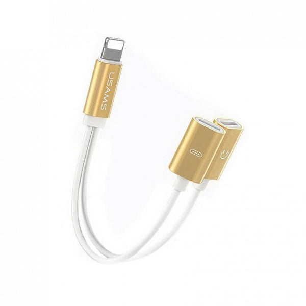 USAMS Dual Lightning adapter cable For iPhone Gold