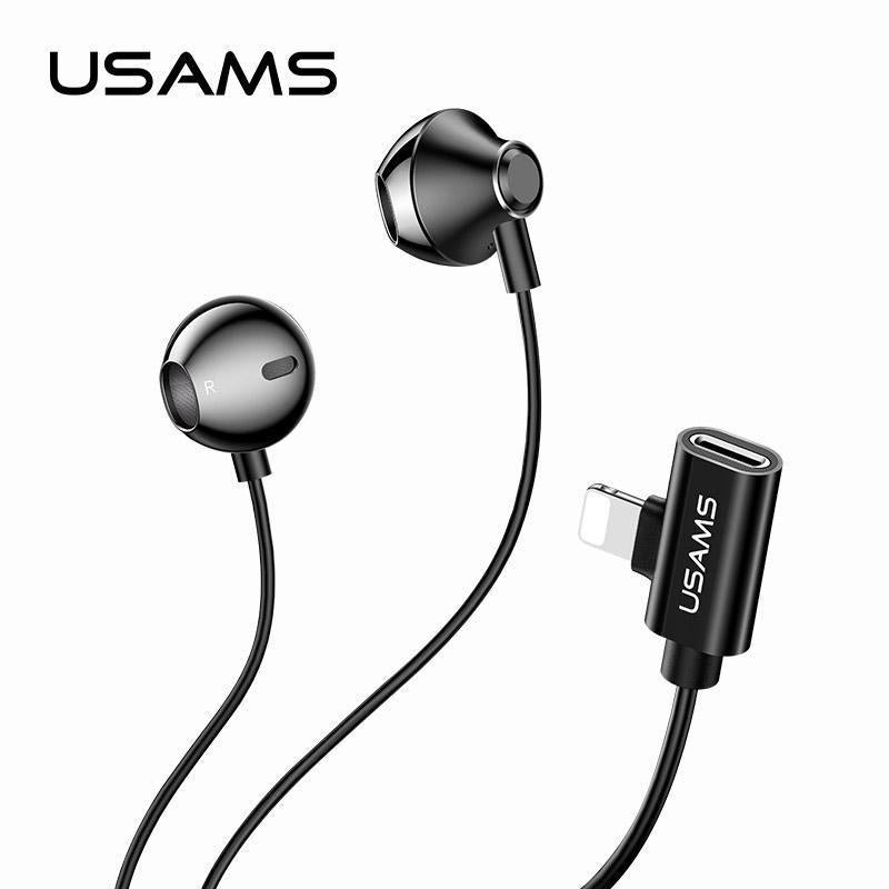 USAMS EP-32 Metal Lightning Earphone with Charging Port for iPhone