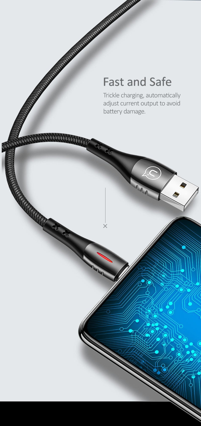 USAMS Smart Power-off Micro USB Cable 2m Black