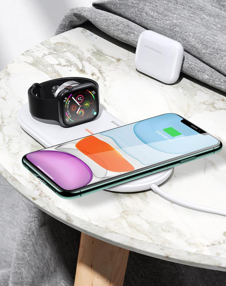 USAMS Wireless Charger For Apple Watch Mobile Phone and Earbuds