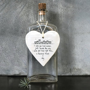 Porcelain Hanging Heart Plaque | I Wish You Lived Nearer