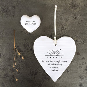 Porcelain Hanging Heart Plaque | Strength Courage Determination
