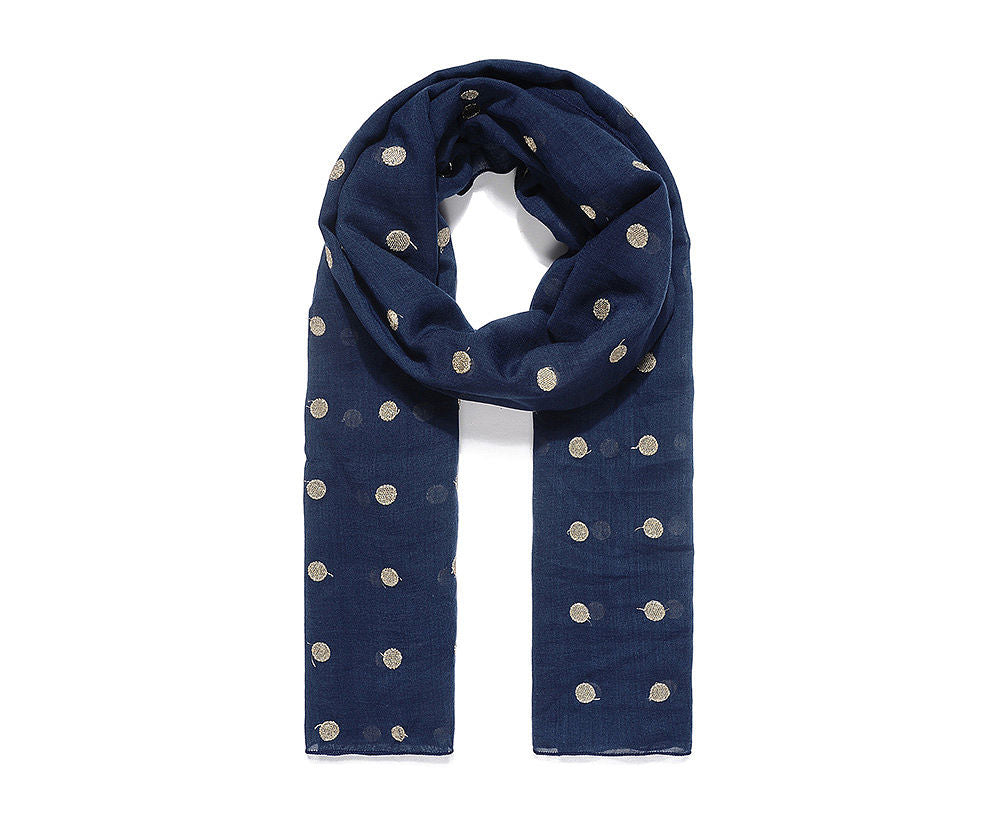 Navy Blue Polka Dot Embroidered Scarf