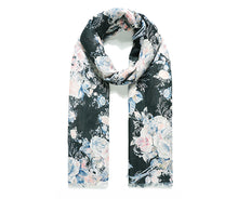 Load image into Gallery viewer, Lightweight Black Rose Print Scarf