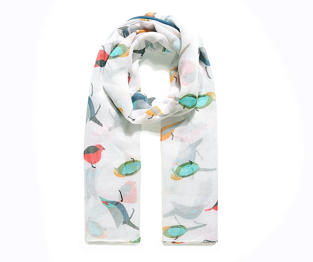 Lightweight White Bird Print Scarf