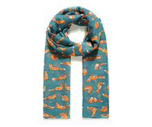 Load image into Gallery viewer, Lightweight Teal Fox Print Scarf