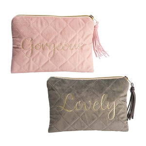 Quilted Velvet Cosmetic Bag | Pink Or Grey
