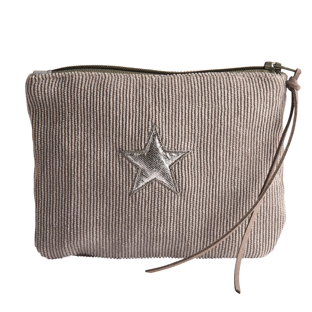Grey Corduroy Star Purse