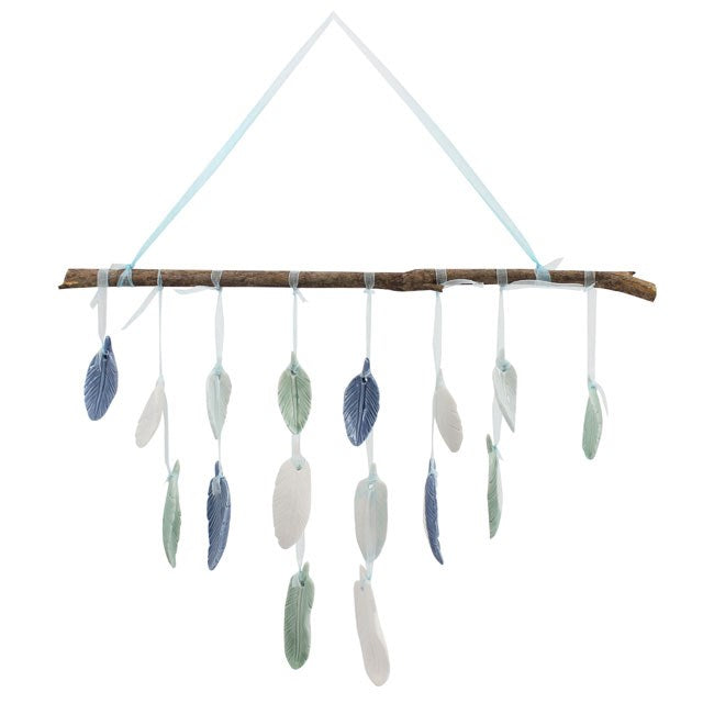 Ceramic Feathers Wall Hanging