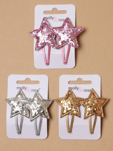 Glitter Star Hair Clips