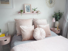 Load image into Gallery viewer, Blush Pink Round Velvet Cushion