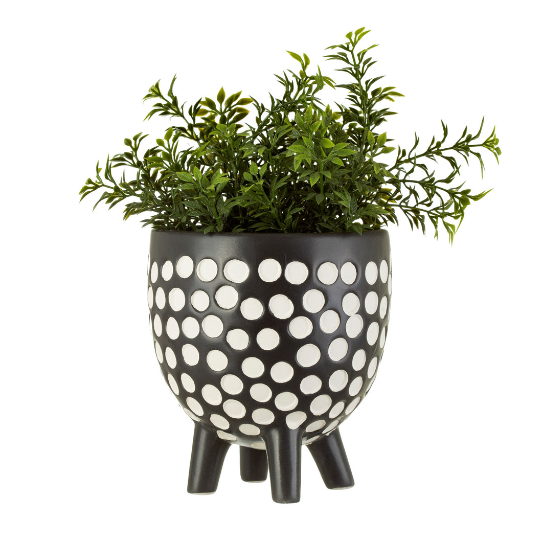 Polka Dot Planter On Legs | Monochrome