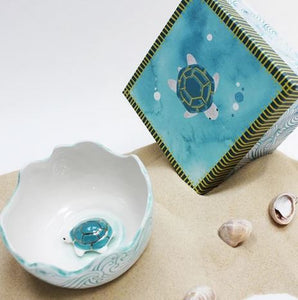 By The Sea Turtle Bowl With Gift Box