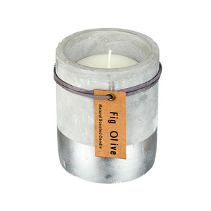 Fig & Olive Candle In Concrete & Silver