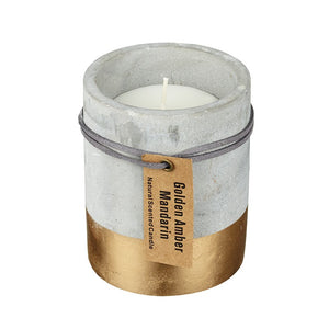 Golden Amber & Mandarin Candle In Concrete & Gold