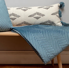 Load image into Gallery viewer, Velvet Teal Chevron Throw
