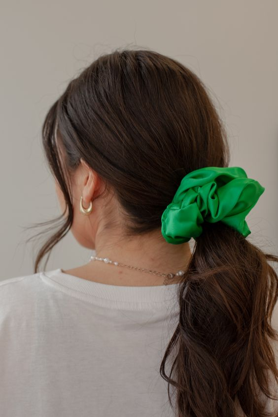 Royal Green Silk Scrunchie - XL