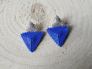 Blue triangle post earrings