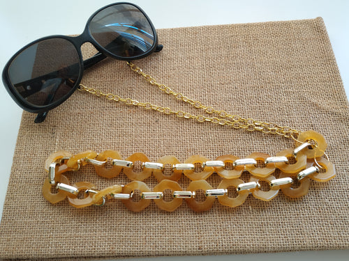 Yellow cream chunky sunglasses chain