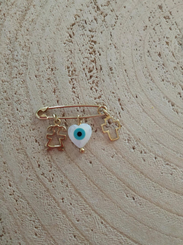 Baby girl evil eye heart safety pin