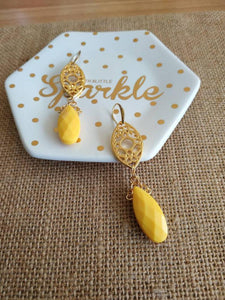 Sunflower yellow teardrop earrings