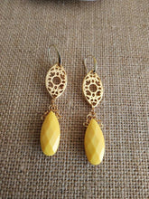 Load image into Gallery viewer, Sunflower yellow teardrop earrings