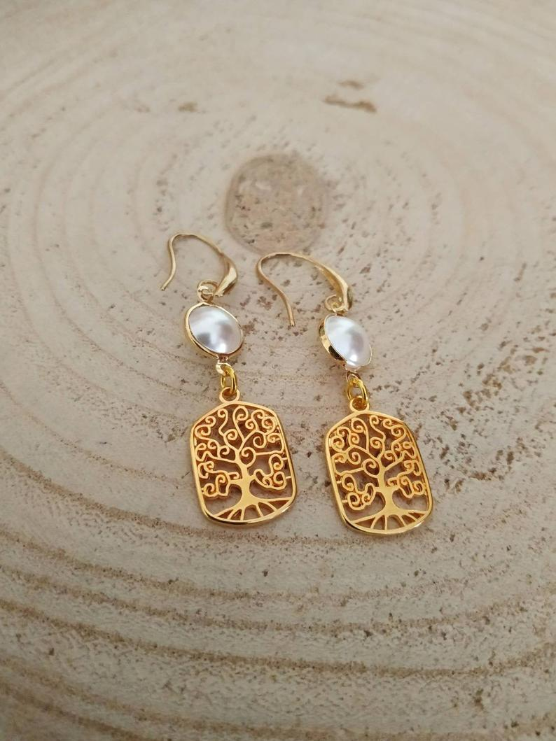 Tree of life pearl earrings