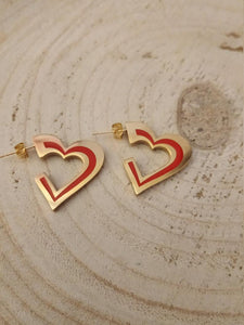 Red heart studs