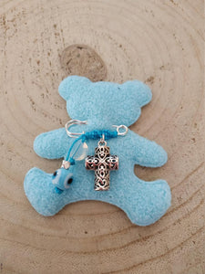 Silver cross baby boy pin