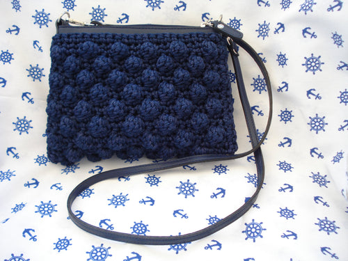 Blue bubble cross-body bag
