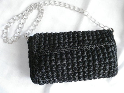 Black crochet bag