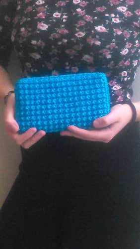 Turquoise crochet wallet - Zip coin purse