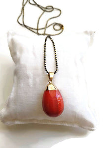 Red agate egg necklace