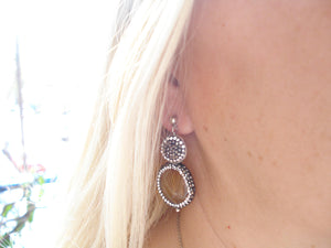 Brown agate post earrings